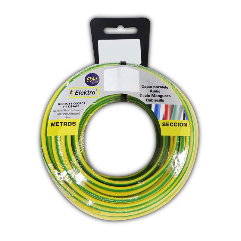 Carrete cablecillo flexible 6 mm. bicolor 10 mts. libre-halogeno
