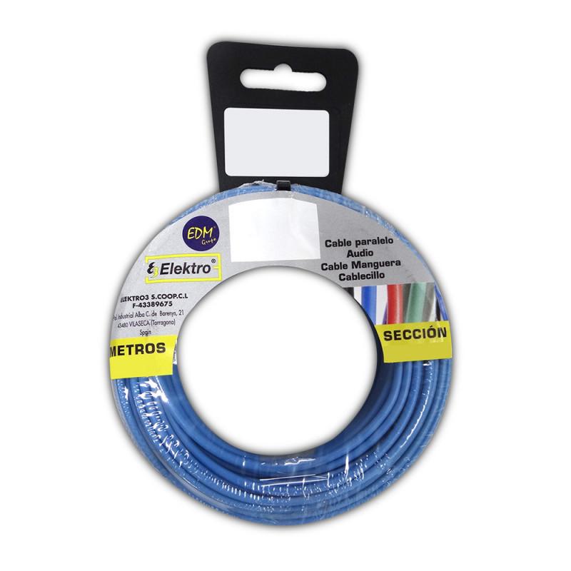 Carrete cablecillo flexible 6 mm. azul 25 mts. libre-halogeno
