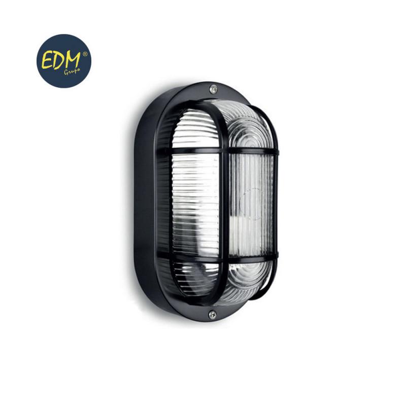 Aplique ip54 oval negro 1xe27 40w 20x11,3 cm mod. ovalo tarragona ø27 cm