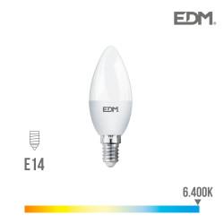 *ult.unidades* bombilla vela led smd 5w 400 lumens e14 6400k luz fria edm