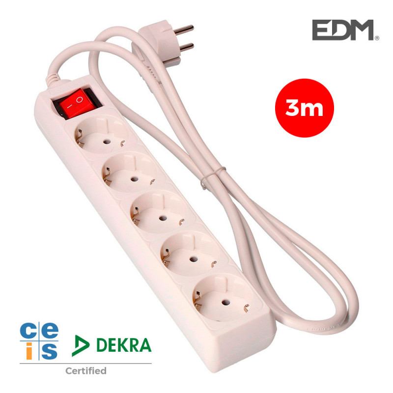 Base multiple 5 tomas t/tl con interruptor 3m 3x1,5mm