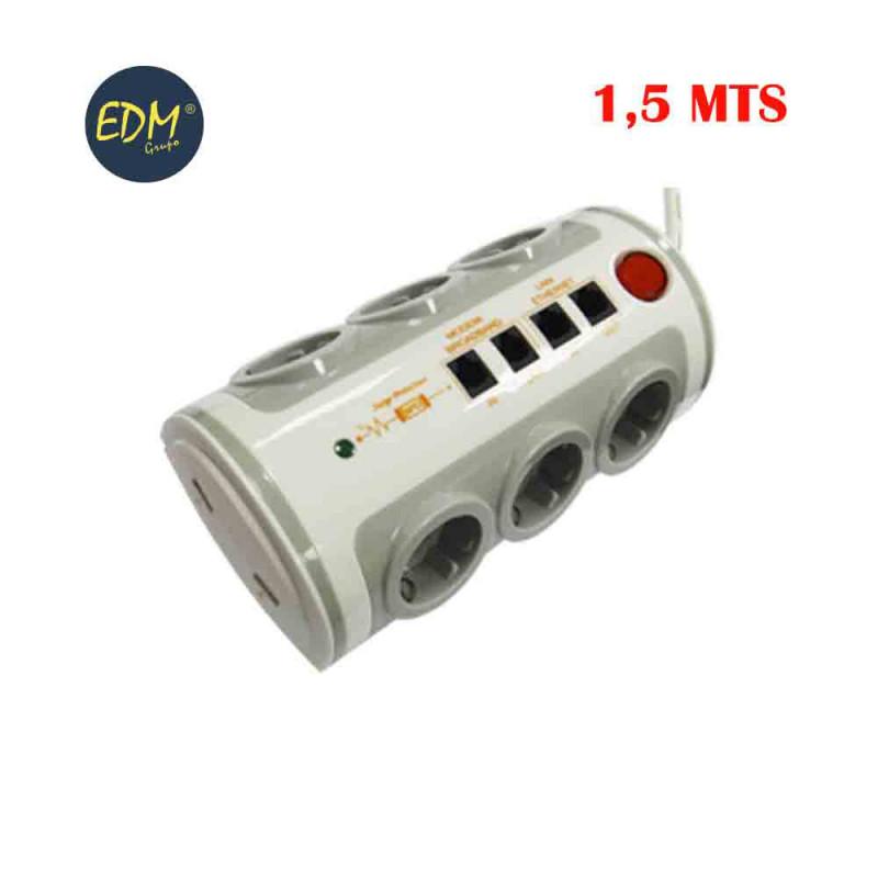 *ult. unidades*  base multipl. 6 tomas con int. t/tl  1,5mts 3x1,5mm toma usb+tj11+rj45