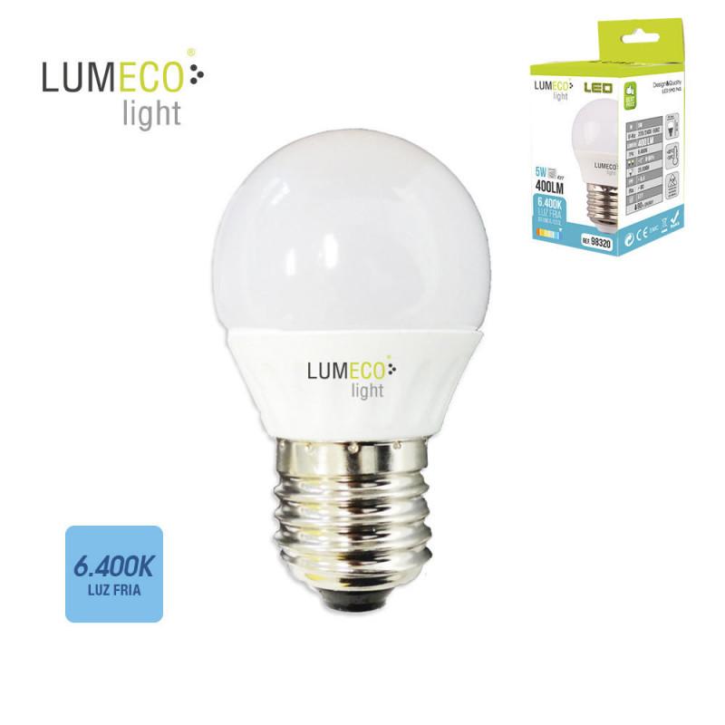 Bombilla esferica led - e27 - 5w - 400 lumens - 6400k - luz fria - lumeco