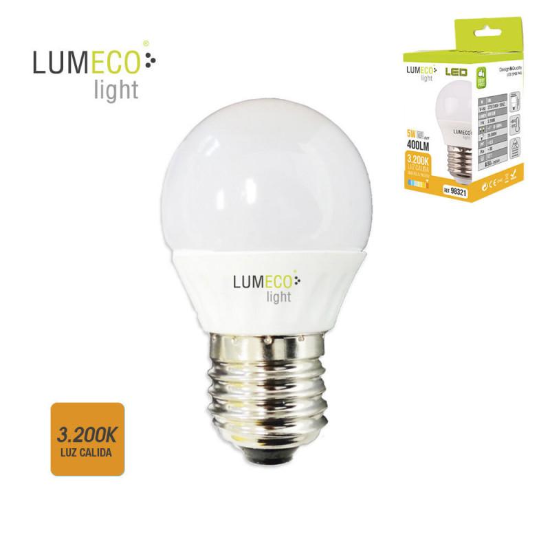 Bombilla esferica led - e27 - 5w - 400 lumens - 3200k - luz calida - lumeco