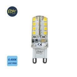 Bombilla g-9 220-240v led 2,5w 200 lumens 6.400k luz fria serie silicona edm