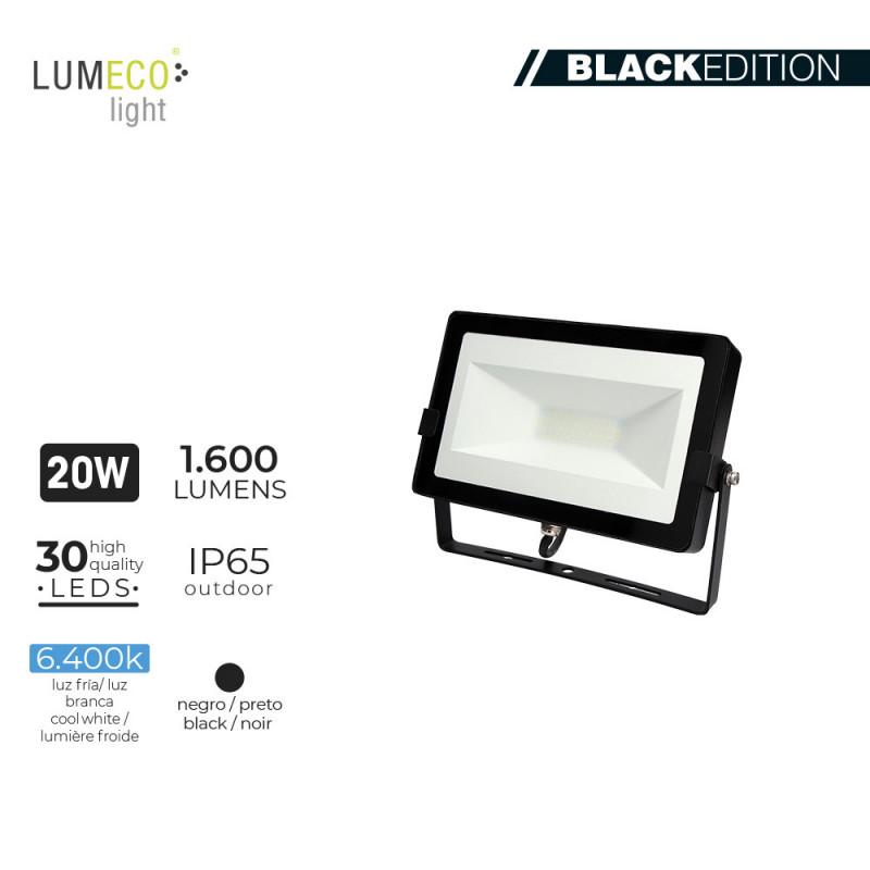 "Foco proyector led  20w 6400k 1600 lumens ""black edition"" lumeco"