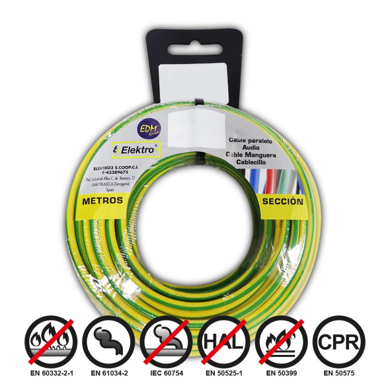 Carrete cablecillo flexible 1,5mm bicolor 5m libre-halogeno