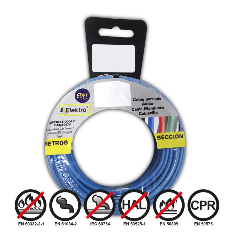 Carrete cablecillo flexible 1,5mm azul 10m libre-halogeno