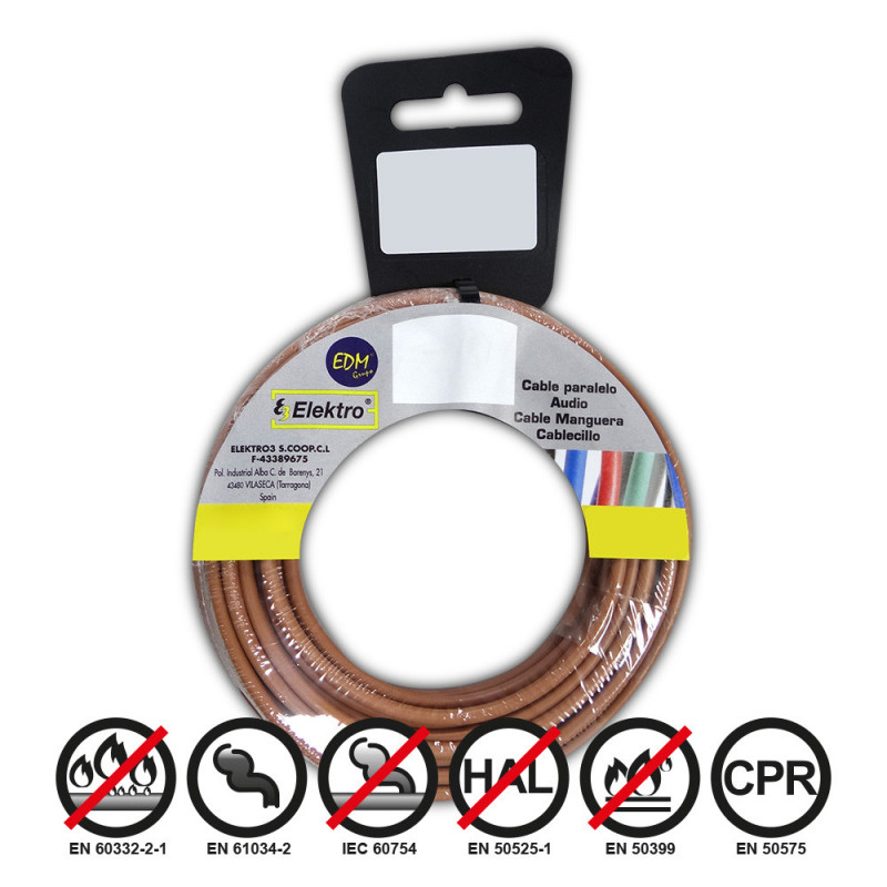 Carrete cablecillo flexible 1,5mm marron 10m libre-halogeno