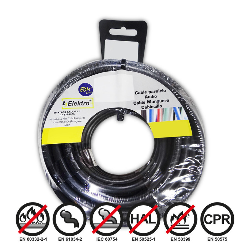 Carrete cablecillo flexible 1,5mm negro 25m libre-halogeno