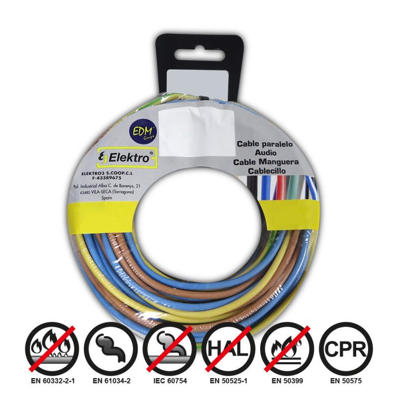 Carrete cablecillo 1,5mm 3 cables (az-m-t) 10m x color 30 m