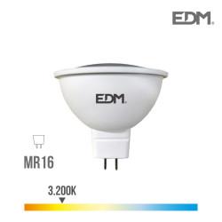 Bombilla dicroica mr16 12v smd 5w 450 lumens 3.200k luz calida apertura 120º edm