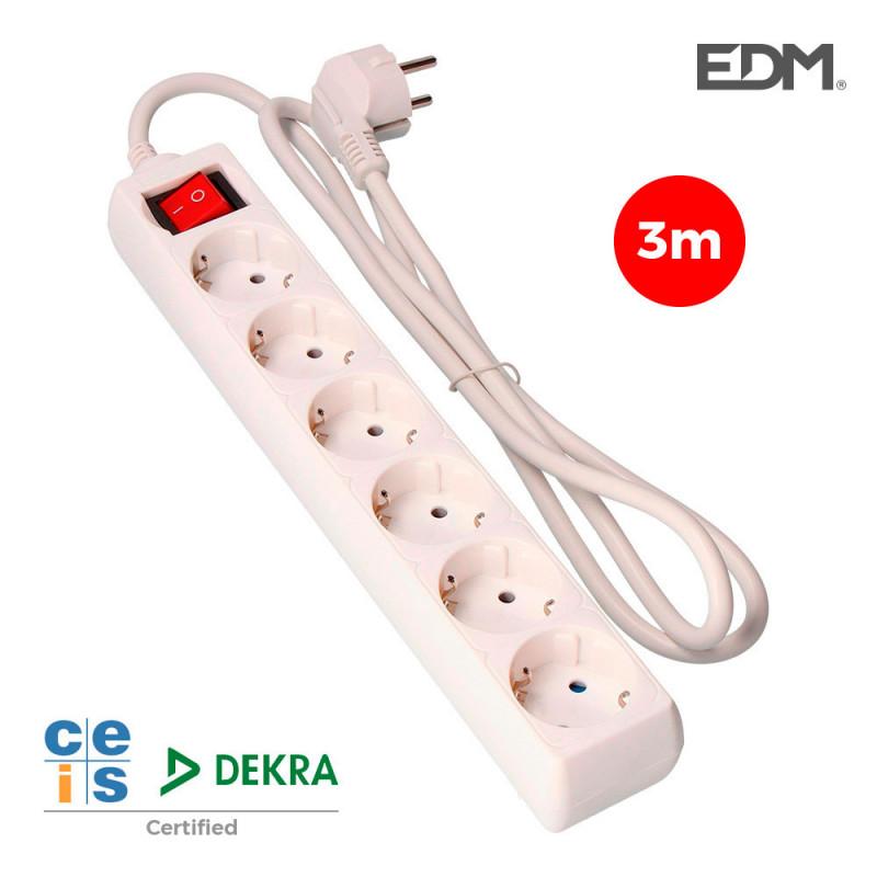 Base multiple 6 tomas t/tl con interruptor 3m 3x1,5mm