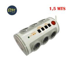 Base multipl. 6 tomas con int. t/tl  1,5mts 3x1,5mm toma usb+tj11+rj45