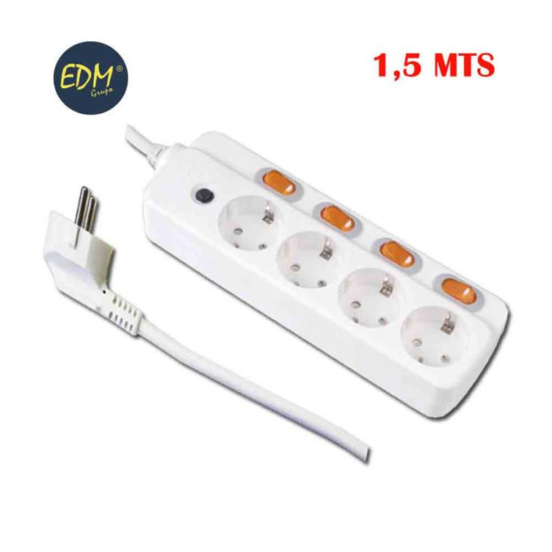 Base multiple 4 tomas y 4 interruptores edm