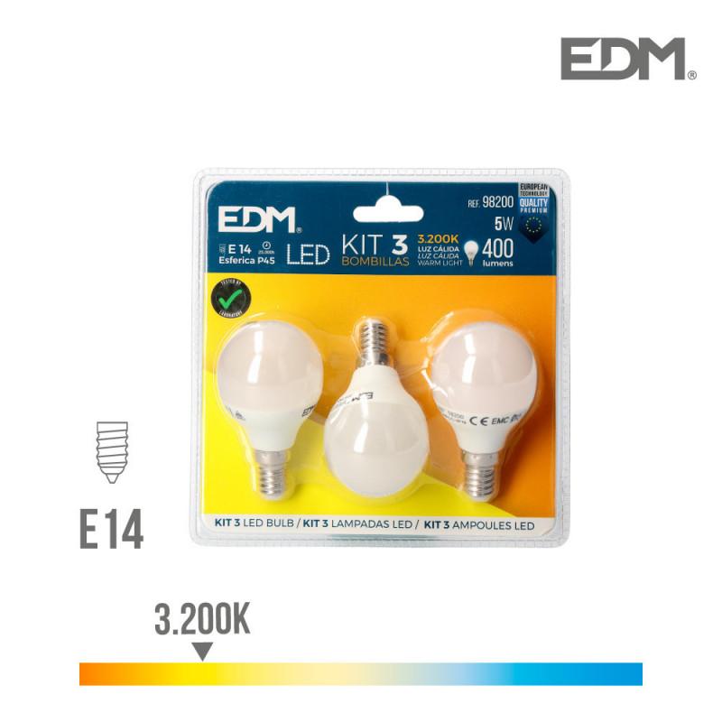 Kit 3 bombillas led esfericas 5w e14 3.200k luz calida edm