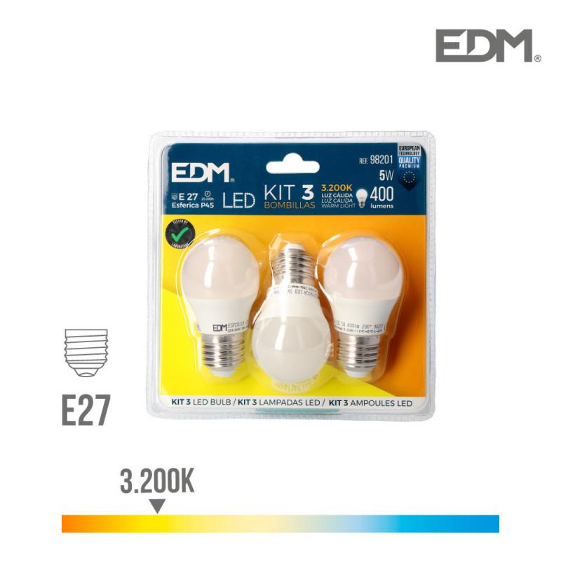 Kit 3 bombillas led esfericas 5w e27 3.200k luz calida edm