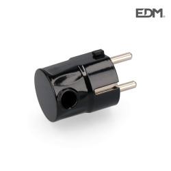 Clavija schuko s/lateral 4,8mm negra envasada (602207)