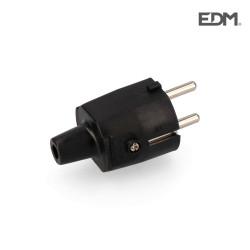 Clavija goma 10/16 a 250 v t/tl ip 44 4,8 mm negra envasada edm