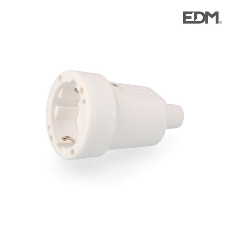 Base aerea pvc 10/16 a 250 v t/tl ip 44 4,8 mm. blanca envasada edm