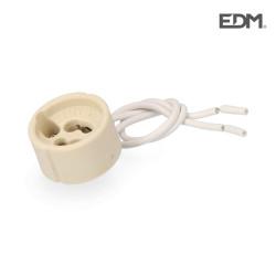 Portalamparas halogeno gu-10 2 a 250 v 15cm con cable envasado edm