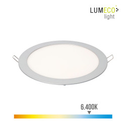 Downlight led empotrable 20w luz fria 6.400k 1500 lumens cromo mate lumeco