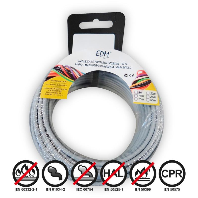 Carrete cablecillo flexible 2,5mm gris 10mts libre-halogeno
