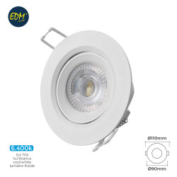 Downlight led empotrable 5w 6.400k redondo marco blanco edm
