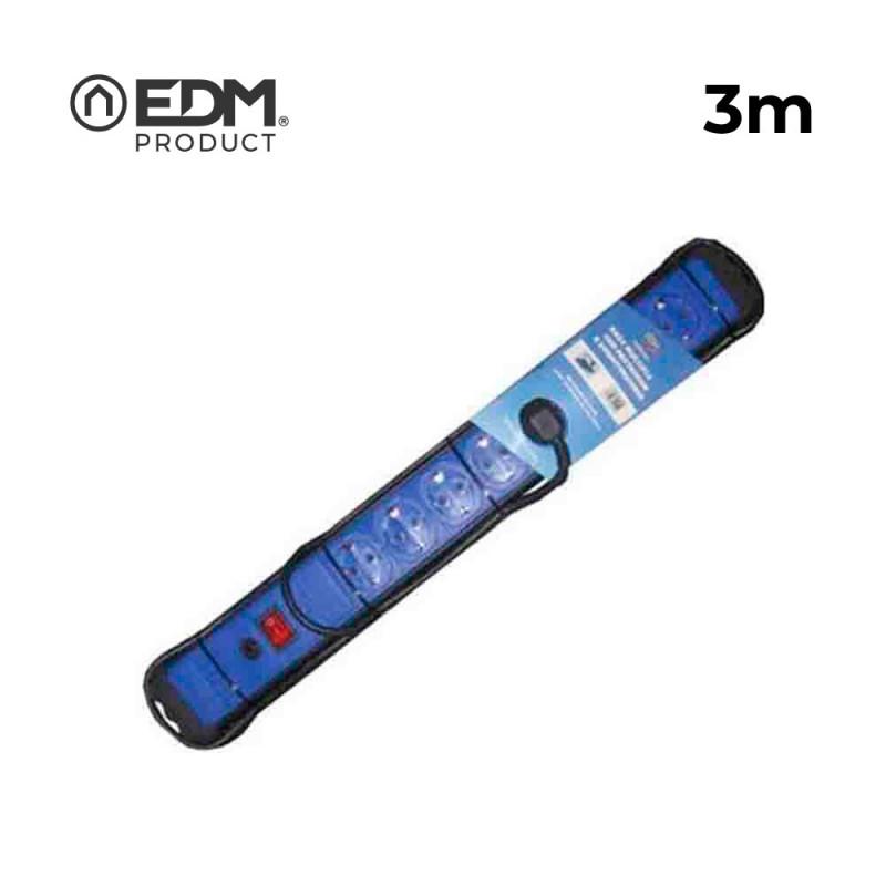 Base multiple 6 tomas con protector+interruptor 3 mts