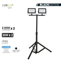 "Foco proyector led  con tripode 2x 30w 6400k 2 x 2000 lumens ""black edition"" lumeco"