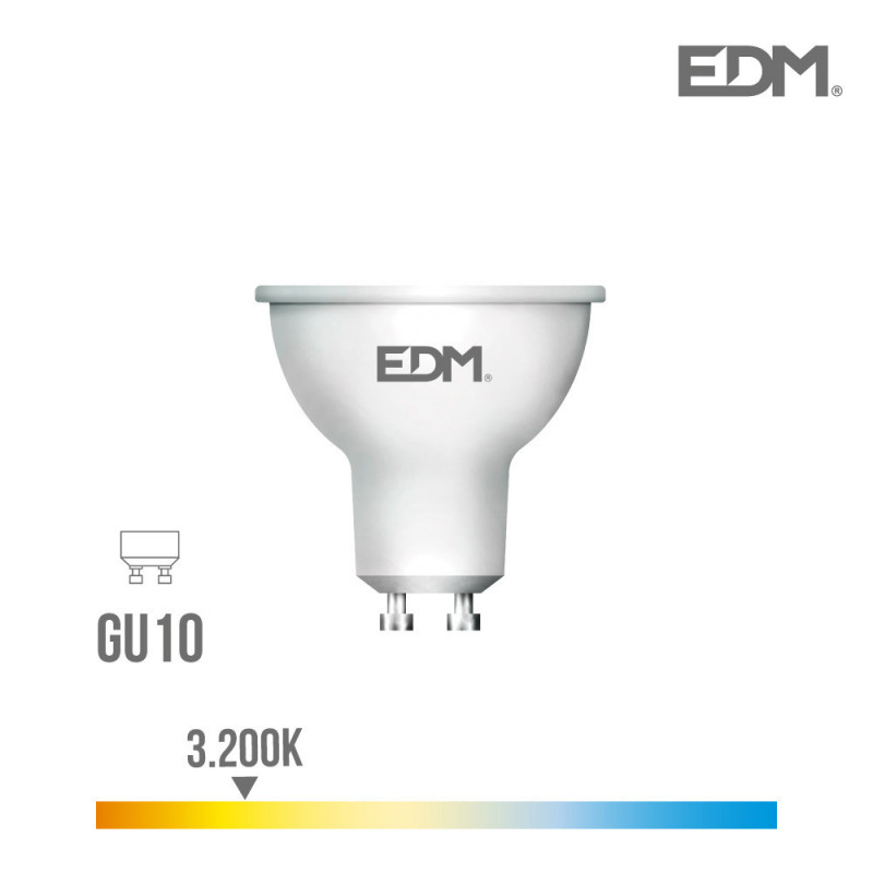 Bombilla dicroica gu10 smd led 5w 450 lumens luz calida 3.200k apertura 120º edm
