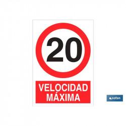 SEÑAL ADHESIVA VELOCIDAD MAXIMA 297X210MM