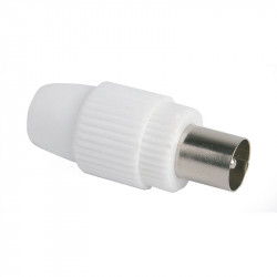 Conector Macho Recto Cable TV 9,5MM Blanco. Simon
