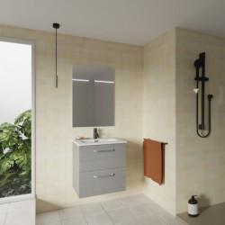 Conjunto Hone Mueble Baño Gris Arenado 50cm 2 Cajones +  Lavabo y Espejo.