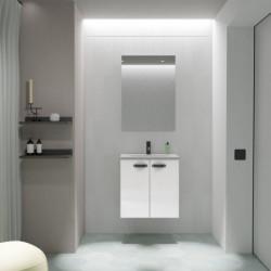 Conjunto Aneko Mueble Baño Blanco Brillo 50cm 2 Puertas +  Lavabo y Espejo.