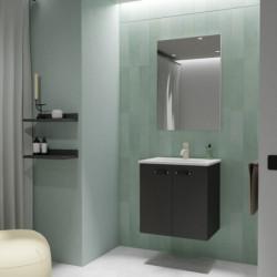 Conjunto Aneko Mueble Baño Antracita Brillo 50cm 2 Puertas +  Lavabo y Espejo.