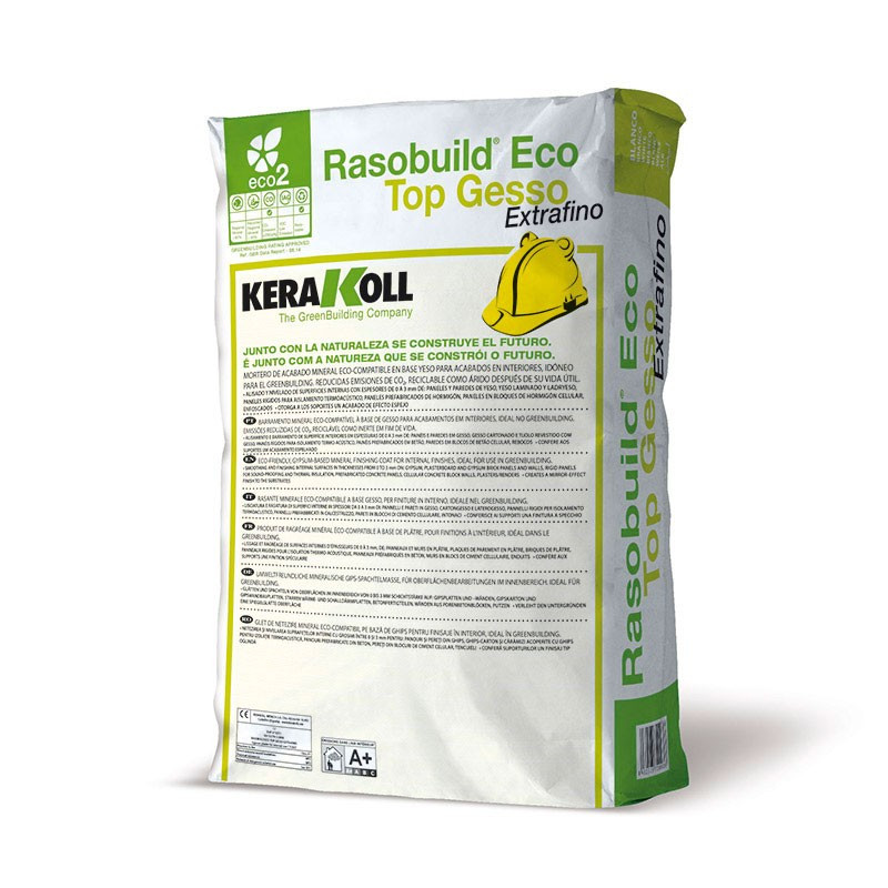 Rasobuild Eco Top Gesso Extrafino Blanco 20Kg. Kerakoll