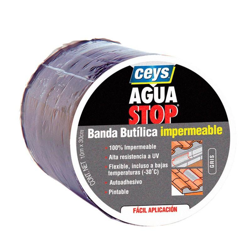 Aguastop Banda Impermeable Butilo  gris 30 cm. x 10 mt. Ceys.