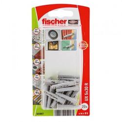Taco universal UX 5 x 30 R K con reborde Fischer
