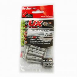 Taco universal UX 6 x 35 R largo con borde Fischer