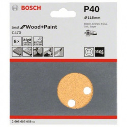 Hoja de lija Bosch Best for Wood and Paint C470 Grano 40 Ø115mm.