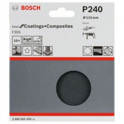 Juego de 10 hojas de lija Bosch Best for Coatings and Composites F355 Grano 115 Ø115mm.