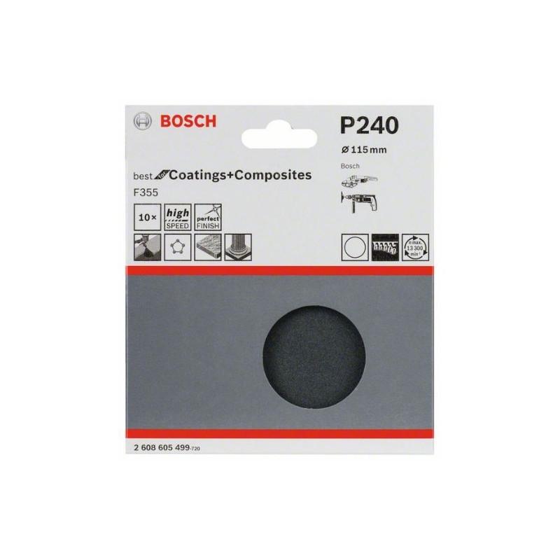 Juego de 10 hojas de lija Bosch Best for Coatings and Composites F355 Grano 115 Ø115mm.