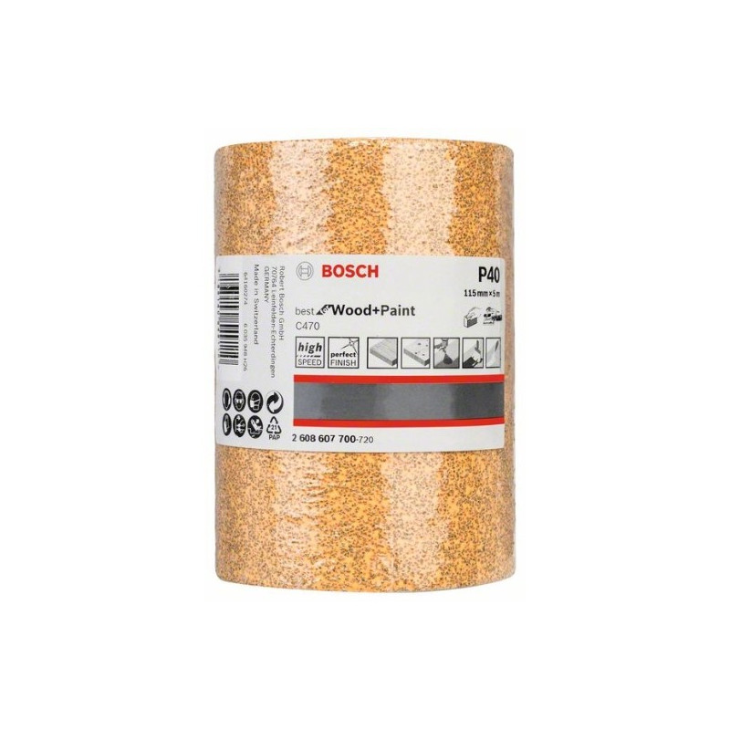 Rollo de lija de papel Bosch Best for Wood and Paint C470 Grano 40