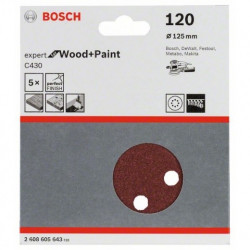 Hoja de lija Bosch Expert for Wood and Paint C430 Grano 120 Ø125mm.