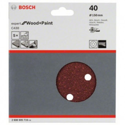 Hoja de lija Bosch Expert for Wood and Paint C430 Grano 40 Ø150mm.