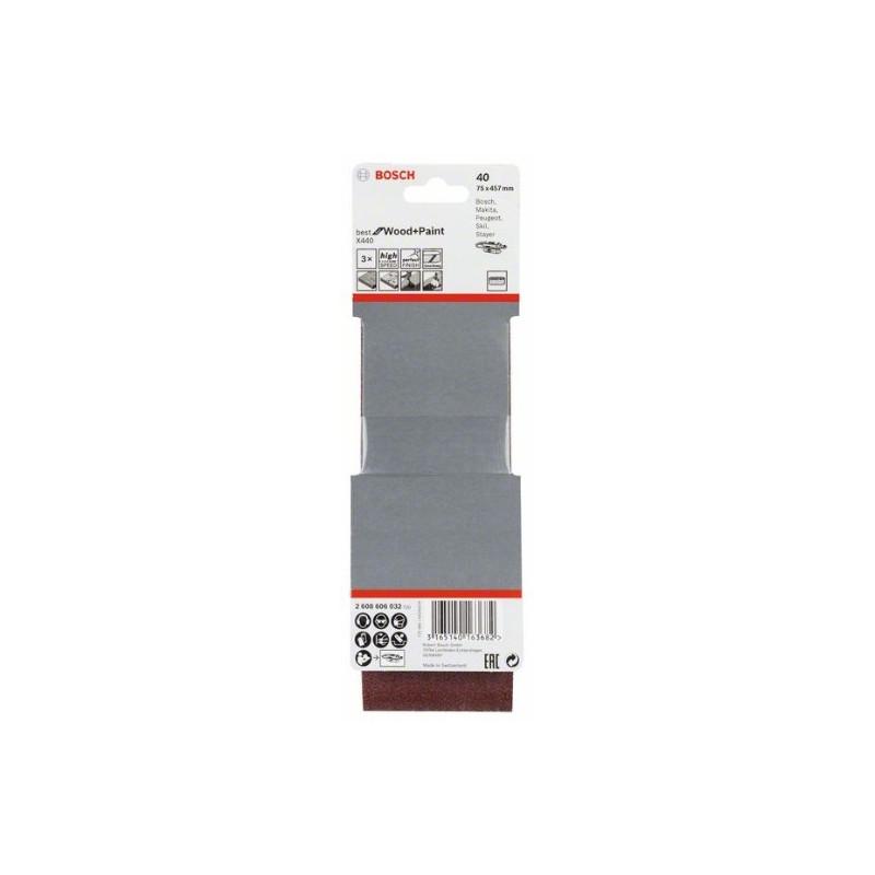 Estuche de 3 bandas de lija Bosch Best for Wood and Paint X440 Grano 40 75x457mm.