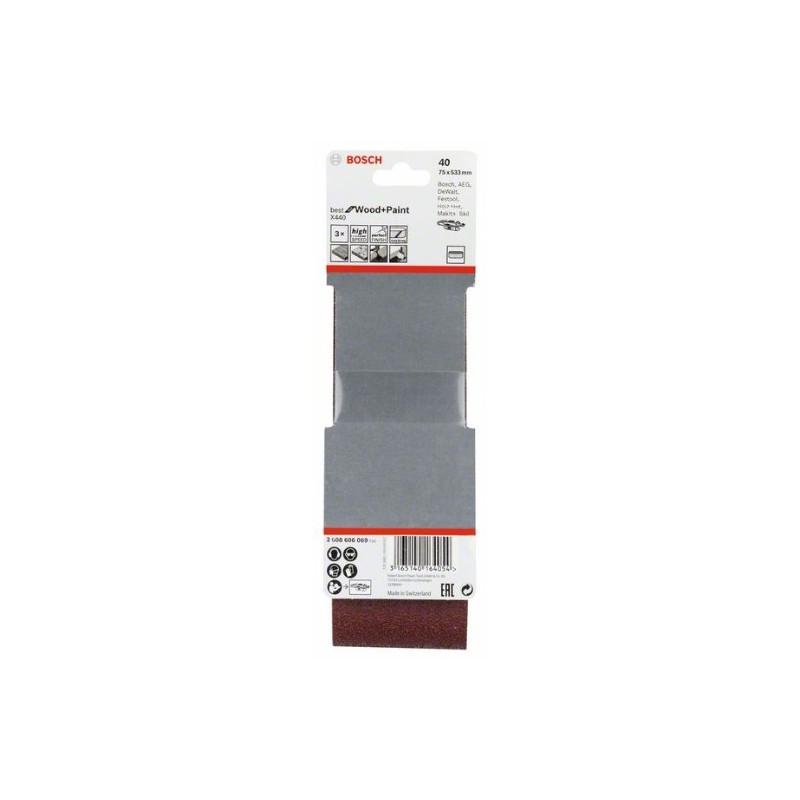 Estuche de 3 bandas de lija Bosch Best for Wood and Paint X440 Grano 40 75x533mm.