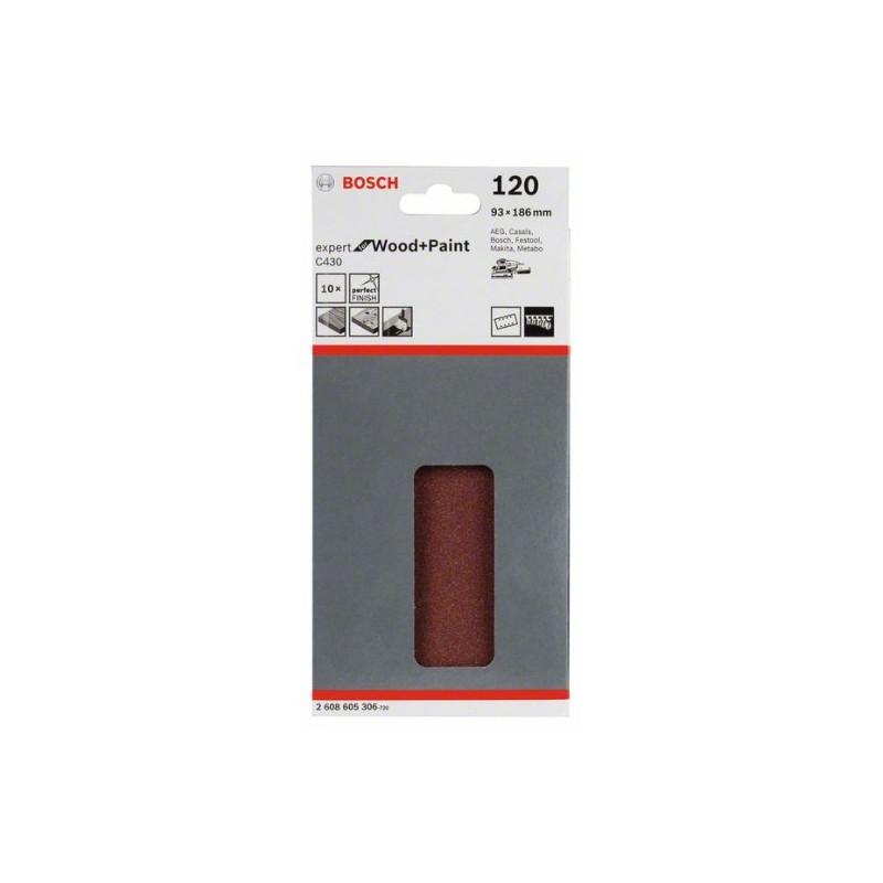Hoja de lija Bosch Expert for Wood and Paint C430 Grano 120 93x186mm.