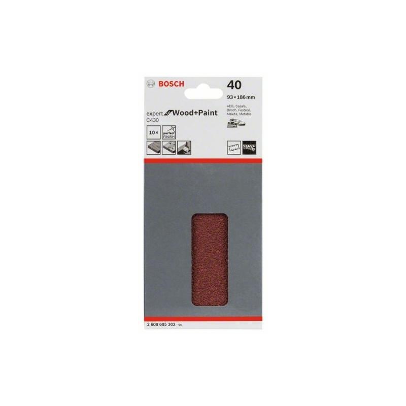 Hoja de lija Bosch Expert for Wood and Paint C430 Grano 40 93x186mm.